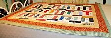 "Vintage Quilt Patchwork Tied Cotton 61"" X 47"" Multi Colored signed 2006"
