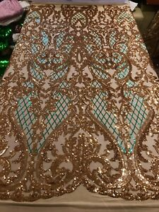"Panel /""Downtown Lace/"" by K-Studios Lace Doilies Green w//Metallic Gold 23/"" x44/"""