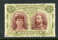 Rhodesia 1910 Double Head 5d lake-brown and olive SG143 MM (regummed?)