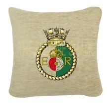 HMS QUEEN ELIZABETH CREST ON A CREAM CHENILLE CUSHION. 2 SIZES AVAILABLE