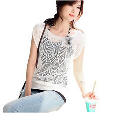 Women Summer Loose Hollow out Short Batwing Sleeve Knit Top Tee Shirt Sweate8kz White Size