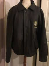 North American Hunting Club Lifetime Member Leather Bomber Jacket XL Brown Coat