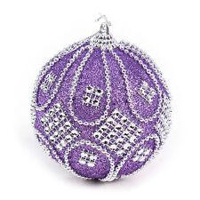 Christmas Rhinestone Glitter Baubles Ball Xmas Tree Ornament Decoration 8cm ZY Purple