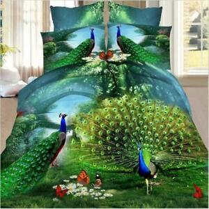 Fashion 3D Peacock Print Queen King Size Bed Quilt/Duvet Sheet Cover 4PC Set NEW