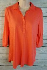 NWT $49 Tommy Hilfiger Mixed Media Top Shirt Tab Sleeves Orange Women's Small