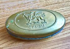 Small Oval Welsh Brass Match Tin Pill Box Welsh Dragon