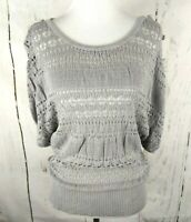 MAURICES Blouson Open Weave Sweater Small Gray Short Sleeve