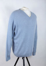 P333/48 M&S Blue Harbour V Neck Extrafine Lambswool Chambray Jumper, L 41-43 in