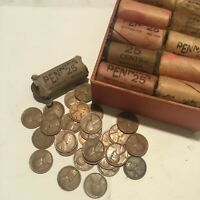 LINCOLN WHEAT PENNIES ORIGINAL BANK 25 CENT SHORT ROLL ROLLS OBW UNSEARCHED