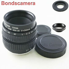 "35mm F/1.7 C mount 2/3"" CCTV lens for Canon EOS M EF-M Mirrorless M2 M3 + macro"