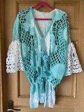 laurie and joe Green White Beach Cover, Mini Dress, Tunic One Size