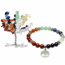 Charka Rock Crystal Tree of Life GEMSTONE Decor Elastic Bracelet Jewlery Set