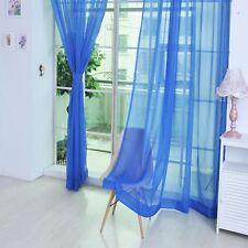Door Window Bedroom Blinds Curtain Decoration Sheer Scarf Valances Drape Panel Royal Blue