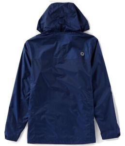 Marmot Precip Hooded Rain Shell Navy M Jacket Waterproof Hike/Camp Packable