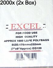 """EXCEL CLEAR PLASTIC LDPE FOOD POLY BAGS 2000x (2x BOX) 7"""" X 9"""" 120G"""