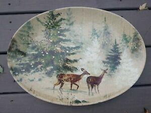 Pottery Barn Deer In Snow Oval Serving Platter