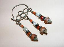 Antique Orient nomades Argent Boucles d'oreilles corail afghan turkmen silver Earring -186