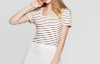 Women's Striped Regular Fit Short Sleeve Square Neck Knit T-Shirt -CREAM  XL