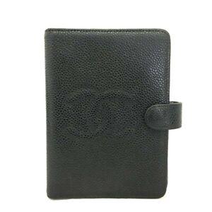 CHANEL CC Logo Black Caviar Skin Notebook Cover /C1176