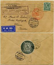 STAMP DEALER W.T WILSON 1933 TIED SEAL BIRD AIRMAIL GB to AUSTRIA via BERLIN C2