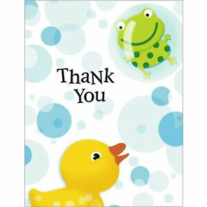 Splish Splash Rubber Duck Duckie Animal Cute Baby Shower Party Thank You Notes