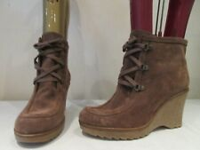 MODA IN PELLE BROWN SUEDE WEDGE HEELED LACE UP ANKLE BOOTS UK 6 EU 39 (3181)