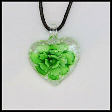Fashion Noctilucent heart lampwork Murano art glass beaded pendant necklace #N21