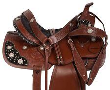 NEW WESTERN PLEASURE TRAIL BARREL RACING SHOW HORSE SADDLE TACK SET 14 15 16
