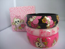 PINK COOKIE 3 CHUNKY BANGLE SET heart/rose scull/rose pink cookie NEW  BOXED