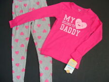 Nwt Girls Carter's Pink Cotton Pajamas Size 2T 2 Love Dad Pjs Leggings l/s Top