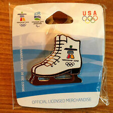 Vancouver 2010 White Figure Skates Olympic Pin