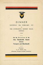 Newport V Blackheath centesimo MATCH 1953 RUGBY Cena menu CARD