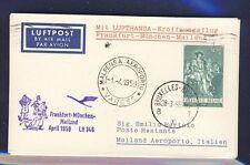 50688) LH FF Deutschland - Mailand Italien 1.4.59, Karte ab Belgien
