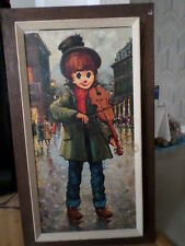 Oil Painting Canvas Big Eye Child Playing Violin Signed Framed Mid Century