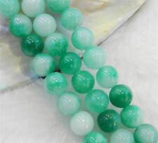 """Hermoso natural 8mm blanco y verde jade Round piedras preciosas Cuentas Sueltas Strand 15/""""AAA+"""