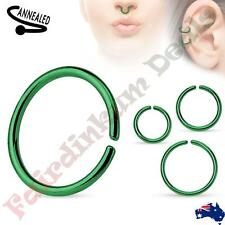 316L Surgical Steel Titanium Anodized Green Annealed & Rounded Cut Nose Ring
