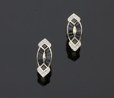 18CT Oro Zaffiro & Orecchini di diamanti