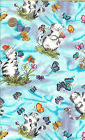 """RARE!  CATS WITH BUTTTERFLIES - TIMELESS TREASURE - BTFQ - 18""""X30"""" XTRA WIDE"""