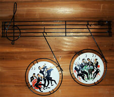 "1960's Funky Musicians Porcelain Metalware Wall Art 22"" Long"