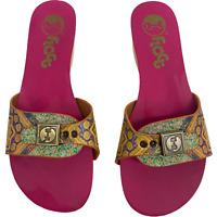 FLOGG Womens Size 7.5M Leather Wooden Heel Clogs Sandals Slides Melanie IV Batik