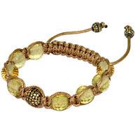 55.13ct Yellow Sapphire Gemstone Jewelry .925 Sterling Silver Macrame Bracelet