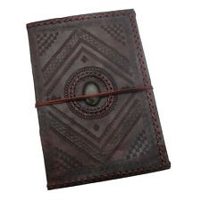 Indra Fair Trade Handmade A4 Stitch Embossed Stoned Leather Journal 2nd Quality