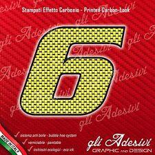 Adesivo Stickers NUMERO 6 moto auto cross gara Carbon Effect Yellow 15 cm