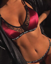 UK Womens Hollow Lace Satin Underwear Ladies Floral Bra Sets Lingerie Knicker