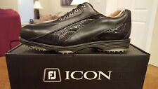 2014 Footjoy FJ Icon Spikeless Mens Golf Shoes 52291 NEW Black/Liz 9.5XW Nice