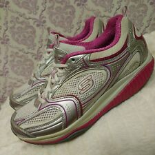 Sketchers Shape Ups Womens 7 White Pink Glitter Silver Leather Textile Sneakers