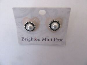 Brighton LUSTER Mini Post Earrings -round silver color- white pearl bead