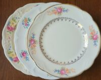 "3 Vtg Mismatched China 6.5"" Bread Dessert Plates - Multicolor Florals Scalloped"