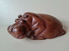 More details for hand carved wooden hippo hippopotamus ornament lying down 15cm long