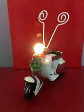 Vintage Style Red & White Vespa Scooter Photo Frame w LED Headlight • Free Ship